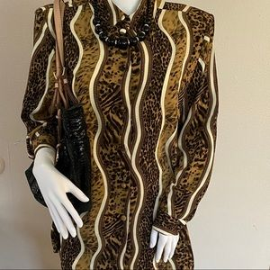 Tops - Animal Print Button Down Brown Blouse Size Small